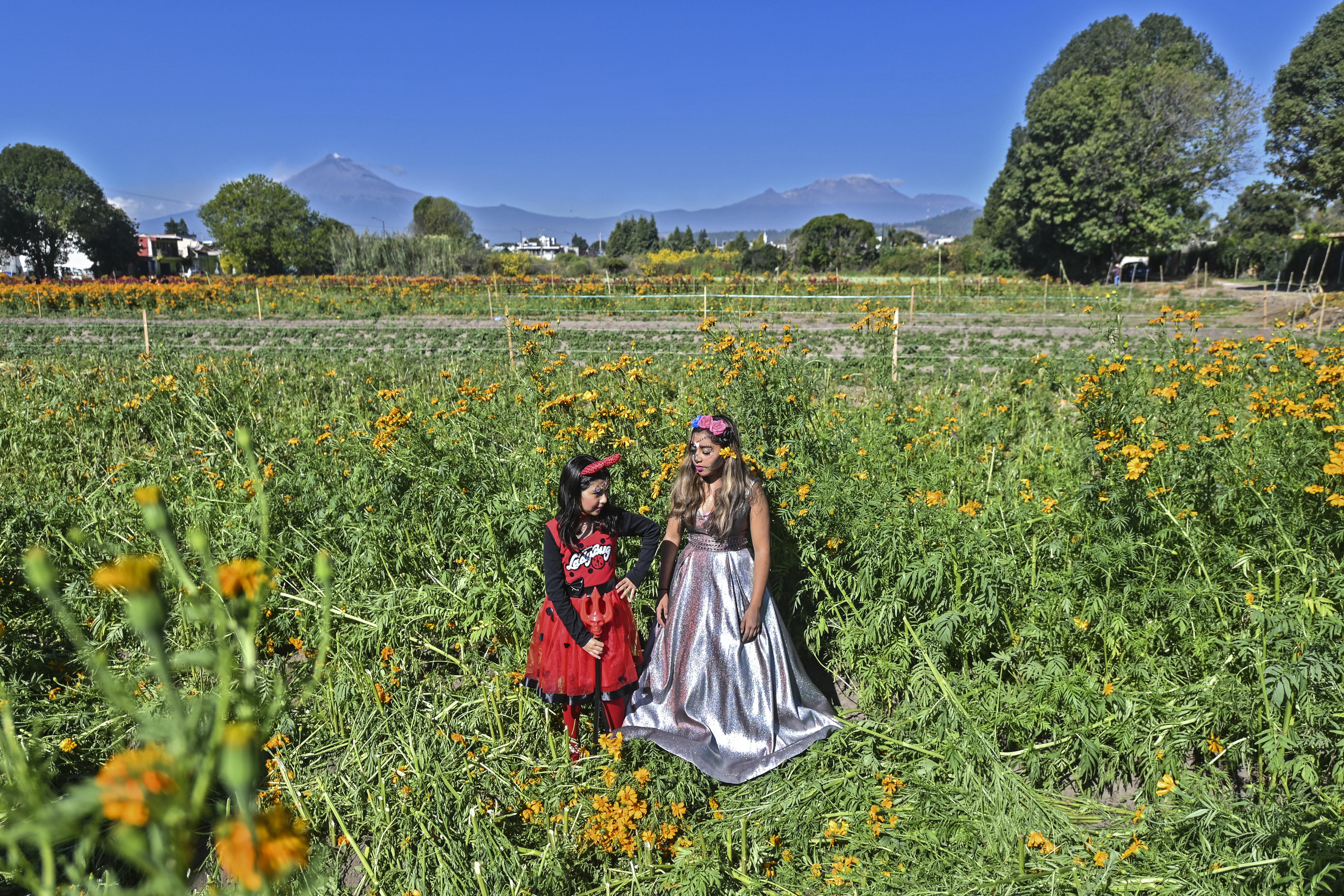 Niñas disfrazadas de Catrina y un diablo respectivamente, posan en un campo de cultivo en San Pedro Cholula, estado de Puebla, México, el 1 de noviembre de 2020.