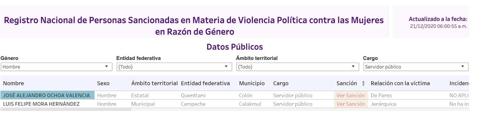 El INE publicó el registro donde se enlistan a todas las personas que cometieron violencia política de género (Foto: Captura de pantalla INE)