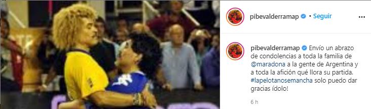 Pibe Valderrama expresa sus condolencias por la muerte de Diego Maradona