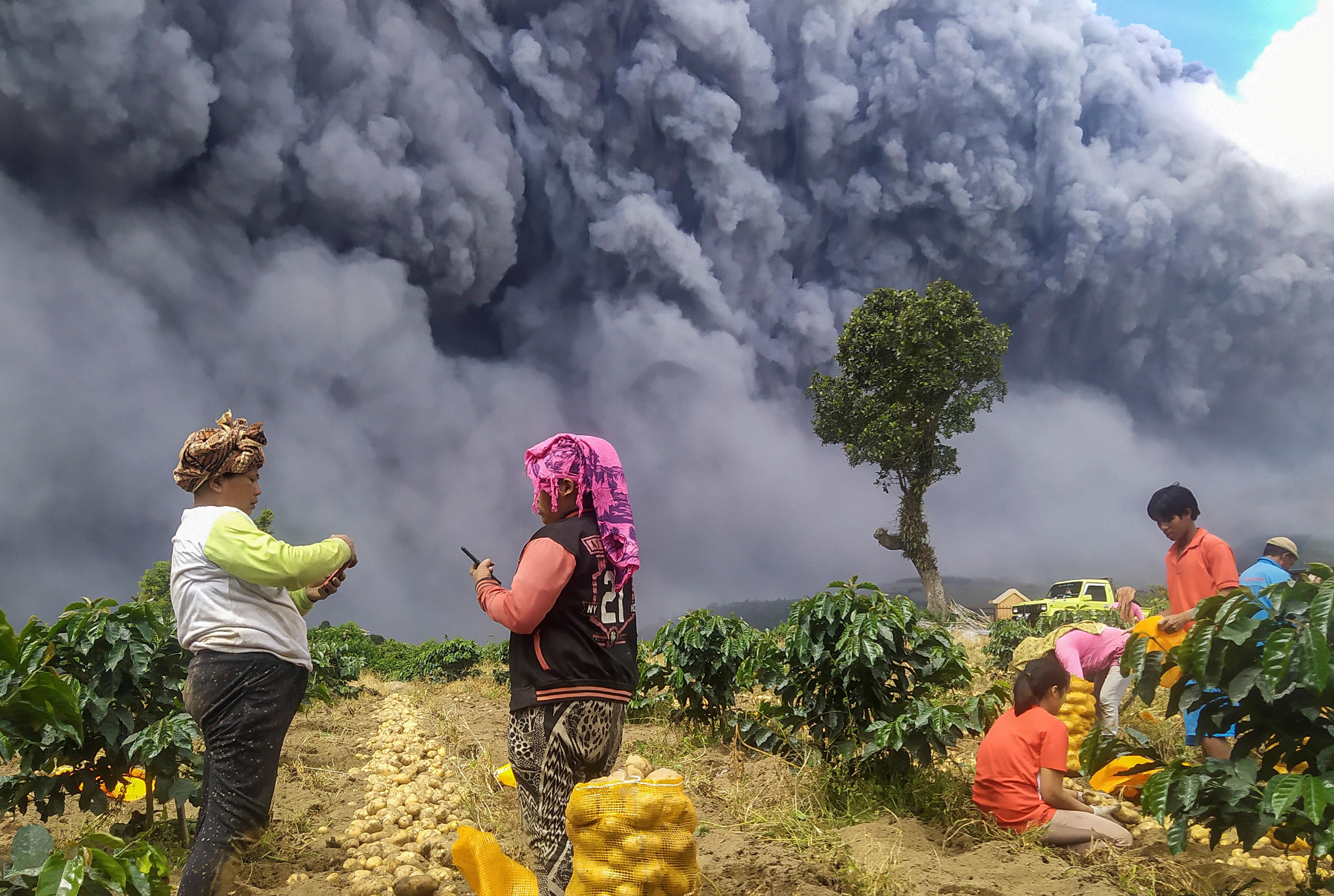 Se aconsejó a los aldeanos mantenerse a 5 kilómetros (3,1 millas) de la boca del cráter y que estén al tanto del peligro de la lava, dijo la agencia. Los viajes aéreos no se han visto afectados hasta ahora por las cenizas, dijo el Ministerio de Transporte. (Antara Foto/Sastrawan Ginting/ via REUTERS)