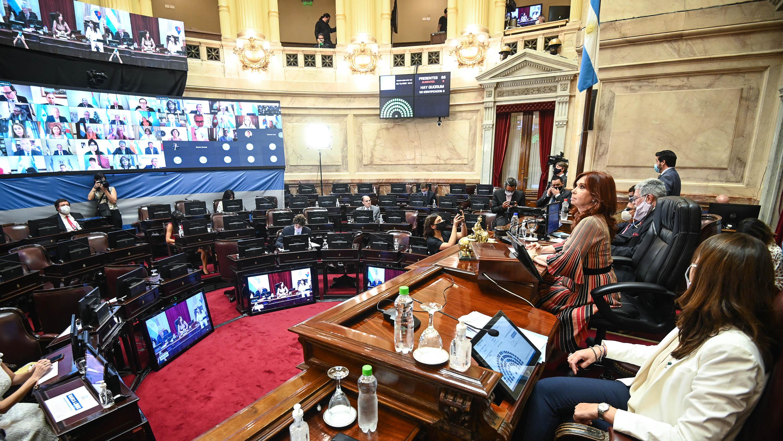 Cristina Kirchner presidiendo la sesión durante la noche