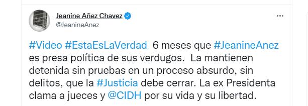 El mensaje compartido en la cuenta de Twitter de la ex mandataria