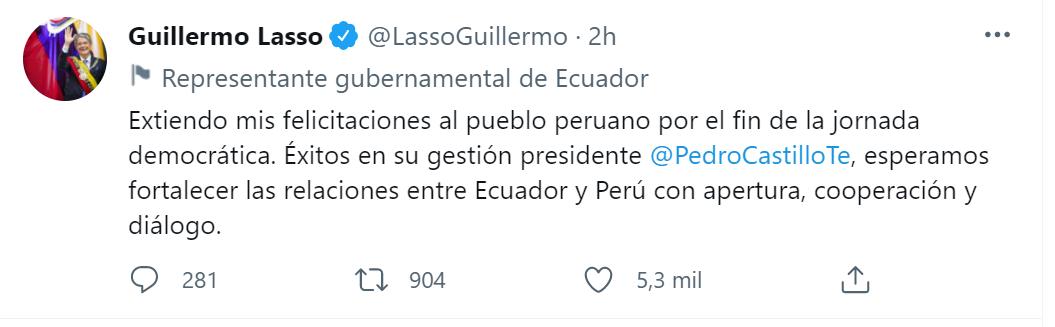 Felicitaciones de Lasso a Pedro Castillo