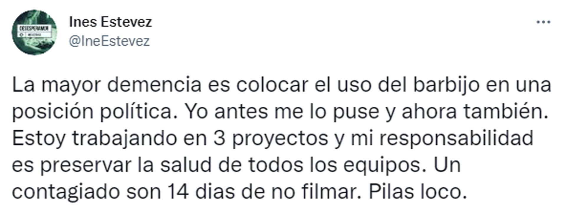 El segundo tweet de Inés Estévez acerca del fin de la obligatoriedad del uso del barbijo (Foto: Twitter)