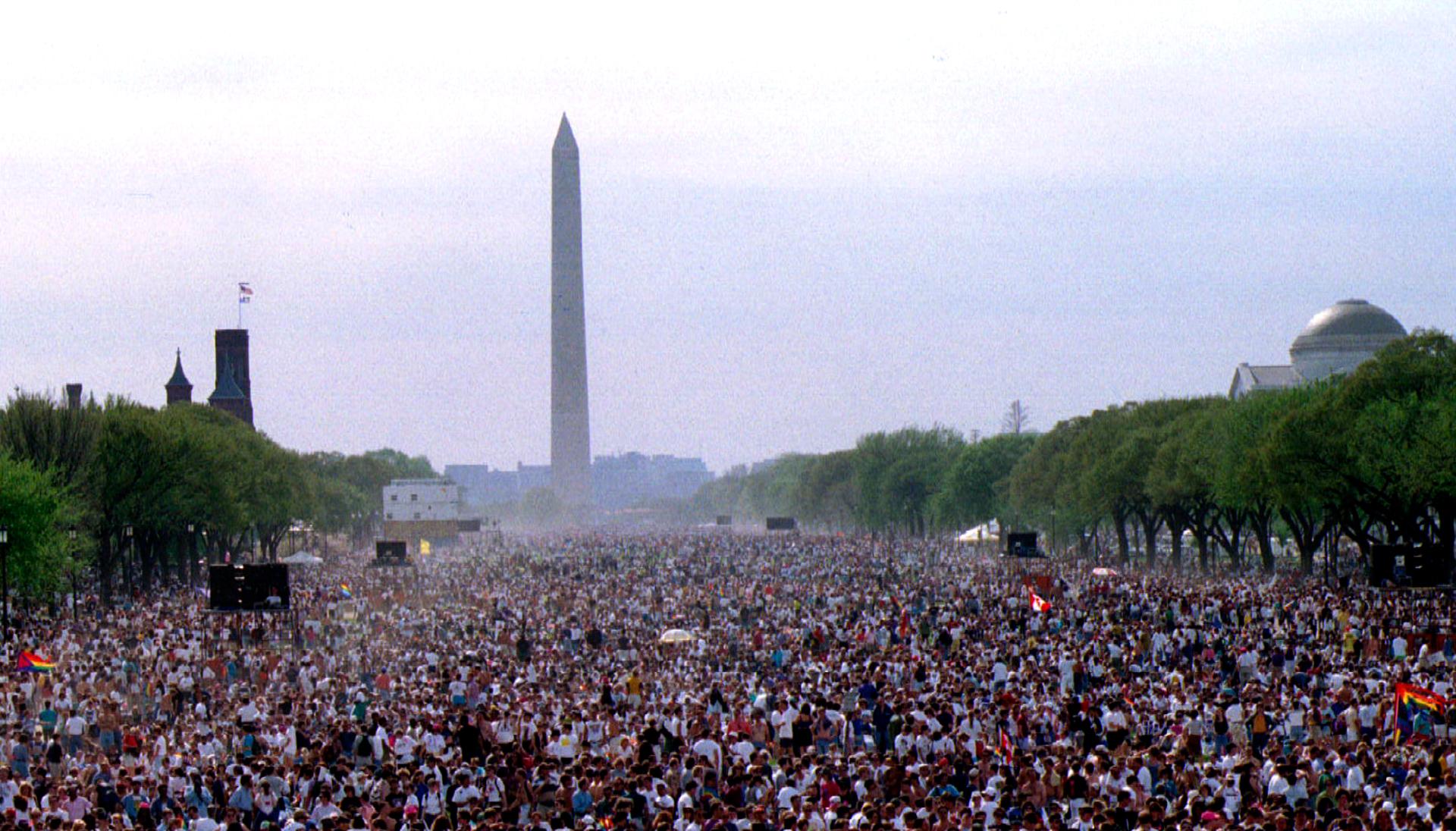 El 25 de abril de 1993, más de un millón de personas se juntó para la Marcha en Washington por los Derechos de las Lesbianas y los Gays ante la ley