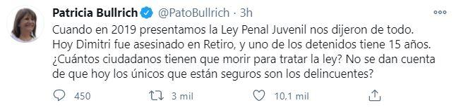 Bullrich también pidió que se debata la ley