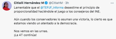 Citlali Hernández secundó la postura del dirigente nacional de Morena en relación a la decisión del TEPJF (Foto: captura de pantalla / Twitter@CitlaHM)