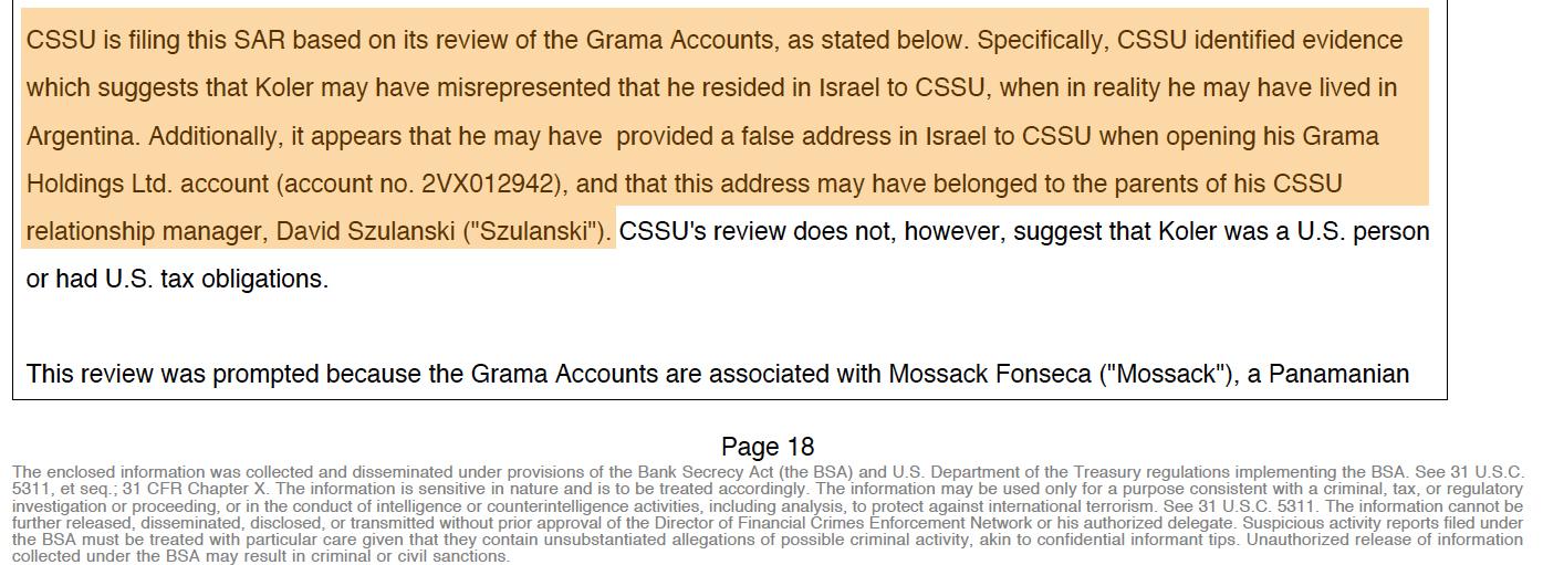 """El extracto del SAR donde el Credit Suisse Securities de Nueva York advierte que existía evidencia de que """"Koler puede haber tergiversado que residía en Israel para el CSSU, cuando en realidad pudo haber vivido en Argentina"""", al abrir la cuenta de la firma Grama Holdings en 2012."""