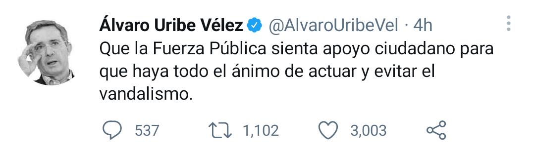 R4BDTJOZG5FY5G47Y6KNEQRK4A - Álvaro Uribe pide sacar el Ejército a las calles