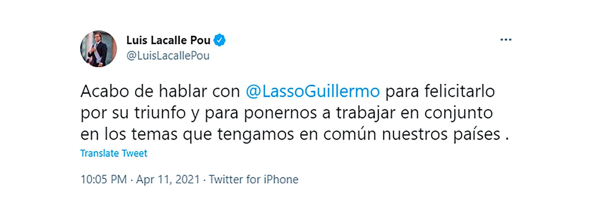 Tweet del presidente de Uruguay por la victoria de Lasso en Ecuador