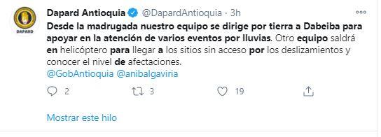 Tres muertos y varios desaparecidos en derrumbe en Dabeiba, Antioquia.