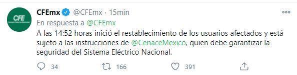 Información emitida por la CFE (Foto: Twitter@CFEmx)