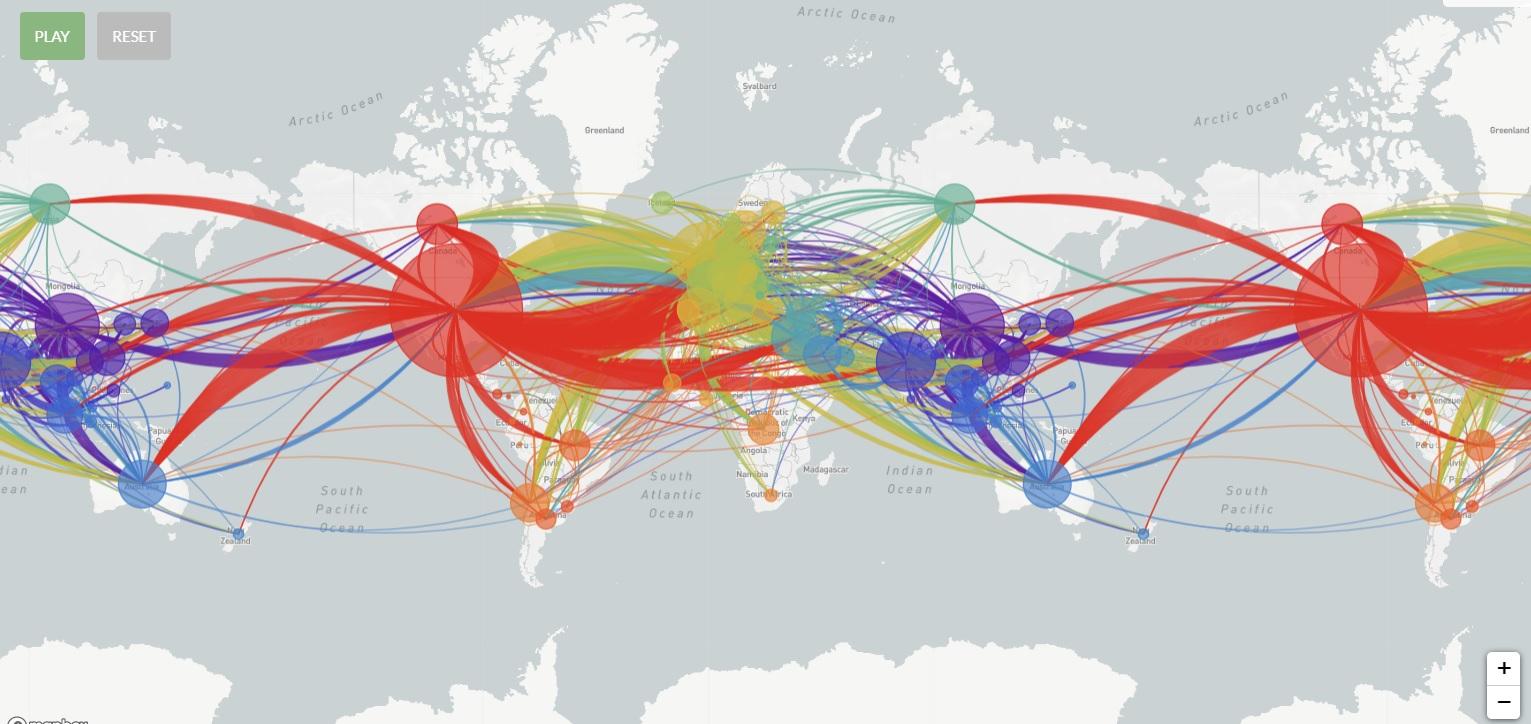 """Nextstrain incluye un mapa interactivo donde al presionar """"play"""" se puede ver cómo se fue propagando el virus y por qué zonas ingresó en los diferentes países del mundo."""