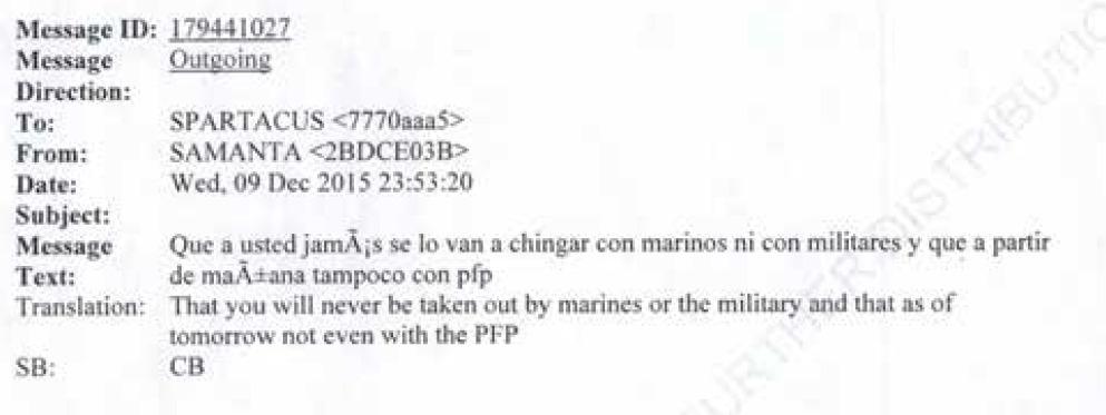 Zepeda: A usted nunca se lo van a chingar con marinos ni con militares y que, a partir de mañana, tampoco con la Policía Federal Preventiva (Captura: Expediente Departamento de Justicia EEUU)
