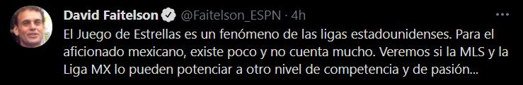 Opinión de David Faitelson acerca del Juego de Estrellas (Foto: Twitter / @Faitelson_ESPN)