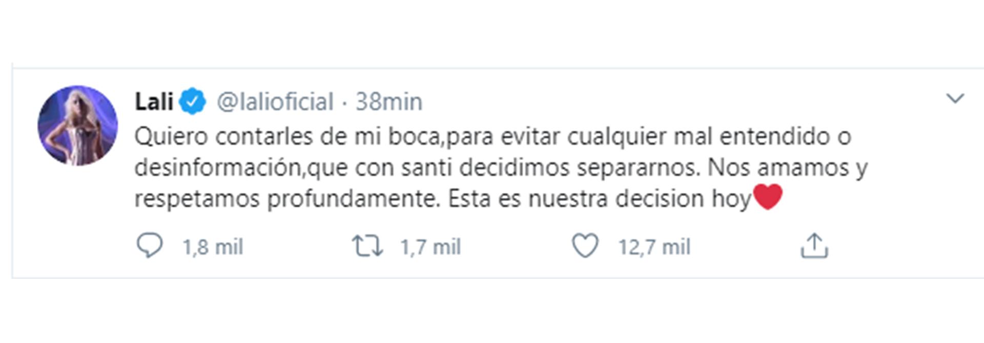 El tuit de Lali Espósito