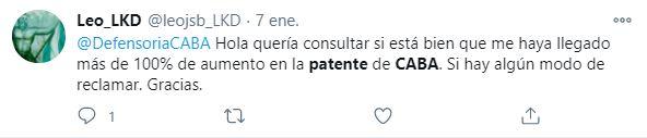 Los vecinos de la Ciudad de Buenos Aires se expresaron sobre el incremento en el pago de las patentes (Captura Twitter)