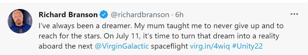 """""""Mi madre me enseñó a no rendirme nunca y a alcanzar las estrellas"""", dice Branson en su mensaje"""