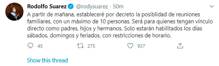 El tuit del gobernador mendocino