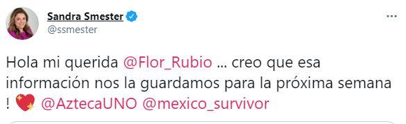 Este fue el mensaje que la jefa de Flor Rubio le envió a la periodista para atrasar la revelación de los participantes de Survivor VIP (Captura: Twitter)