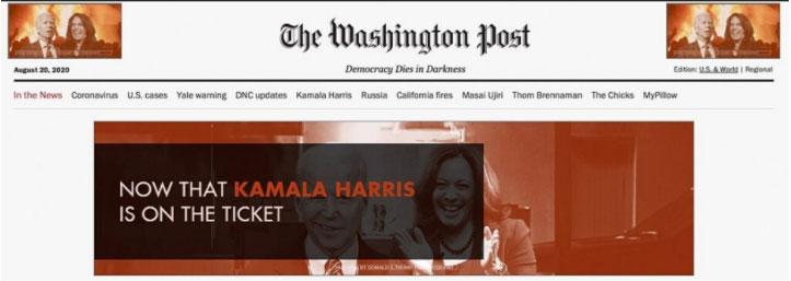 """""""Ahora que Kamala Harris tiene está en la fórmula, la asunción de la izquierda radical de Joe Biden está completa"""" se lee en un anuncio a favor de la reelección de Donald Trump"""