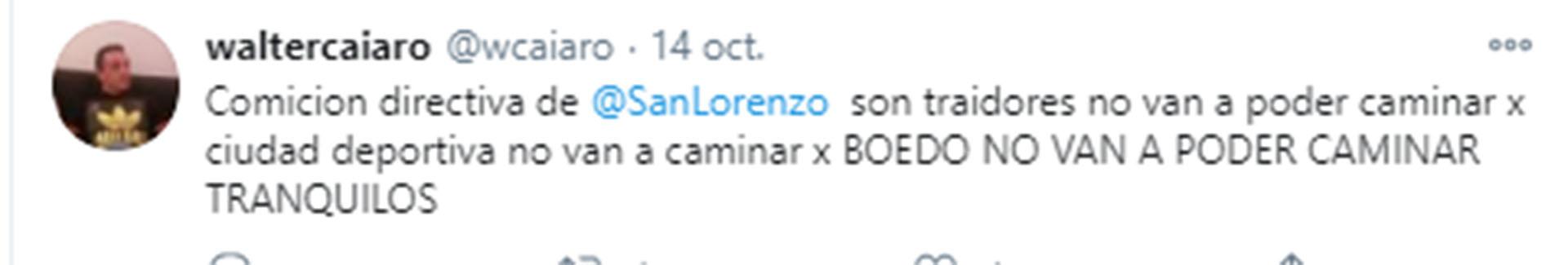 Una de las amenazas que realizó el hincha de San Lorenzo en su cuenta de Twitter