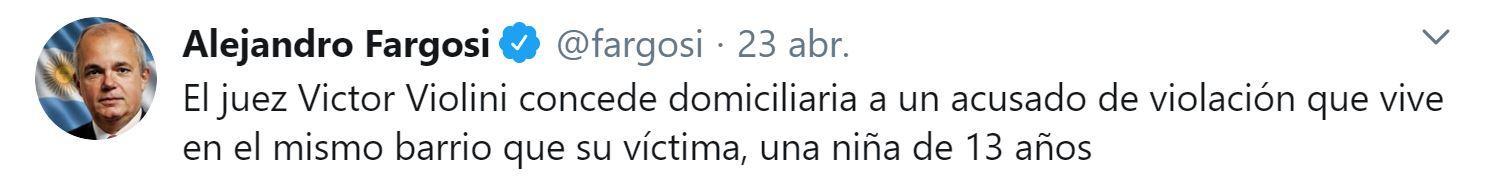 Hace algunos días, el abogado Alejandro Fargosi repudió la decisión del magistado