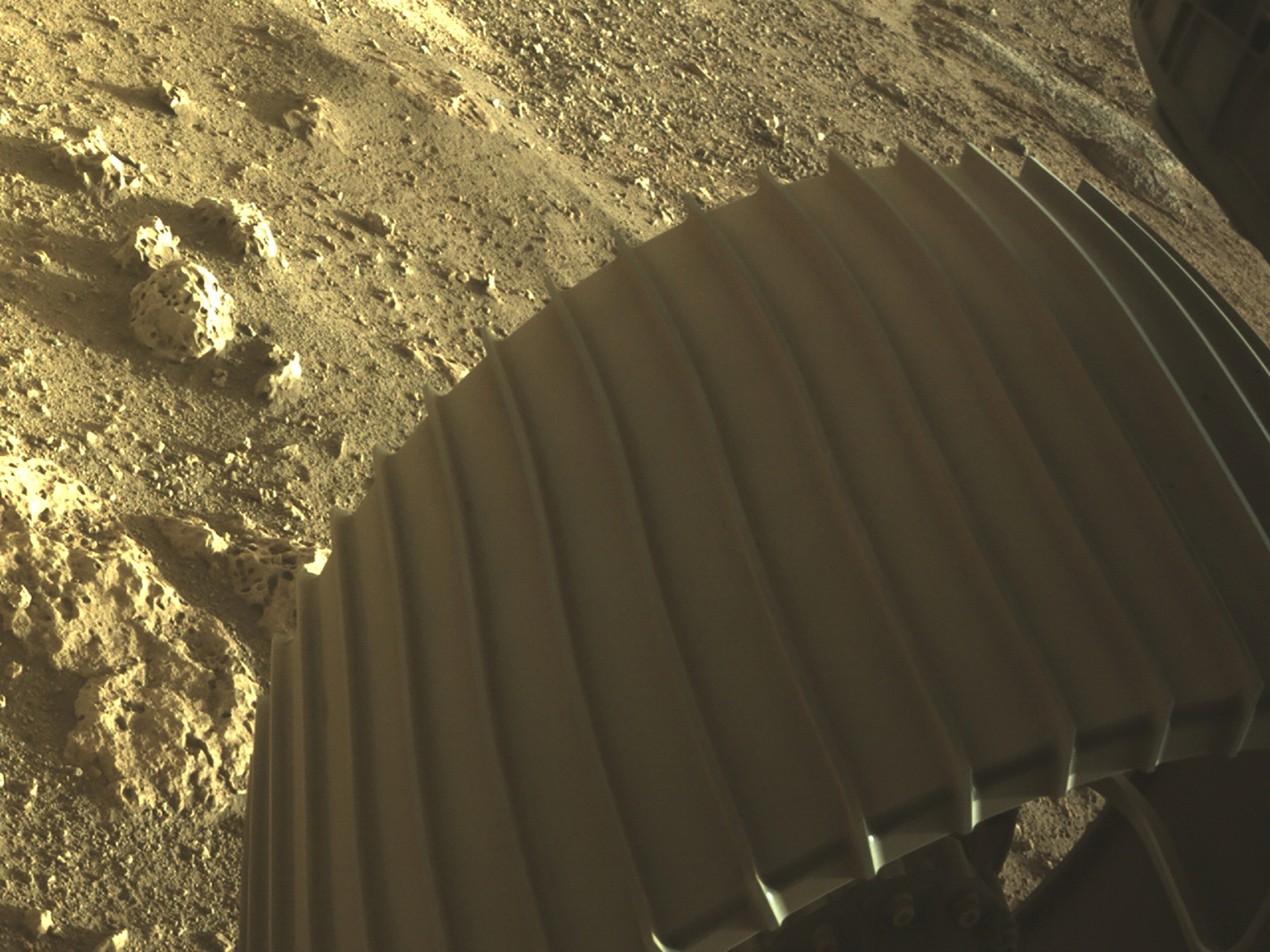 Una de las seis ruedas del Perseverance sobre la supeficie del planeta rojo - NASA/JPL-Caltech/Handout via REUTERS