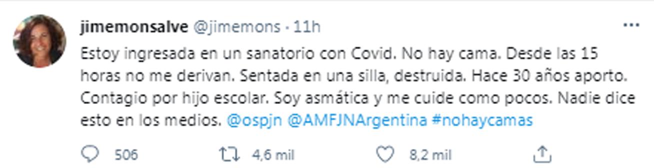 La jueza Jimena Monsalve estuvo casi 12 horas a la espera de una cama en un sanatorio porteño