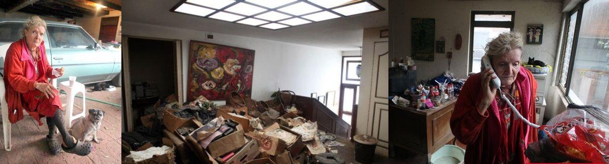 Alma Delia Fuentes murió en en el olvido, rodeada de basura en el garaje de su mansión (Fotos David Estrada)