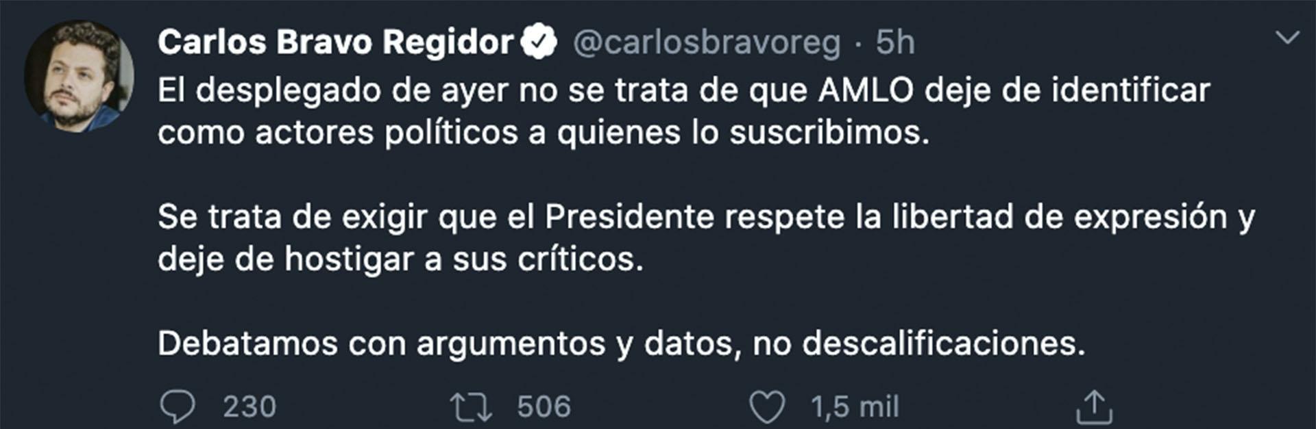 El analista del CIDE invitó a debatir las ideas y no descalificar (Foto: Twitter@carlosbravoreg)