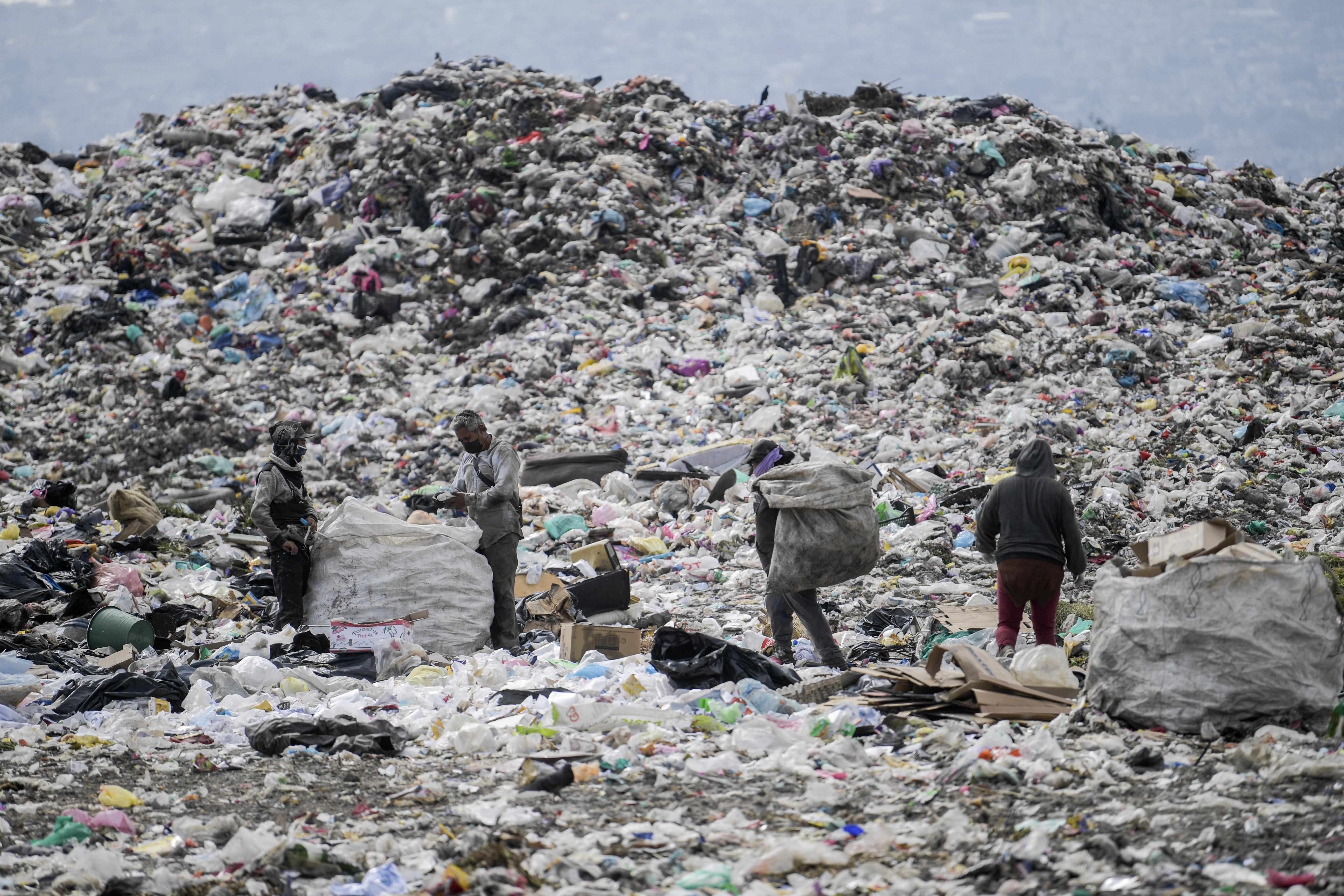 Los recolectores clasifican la basura en el basurero