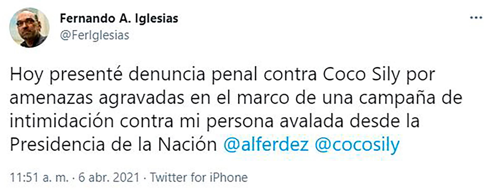 Fernando Iglesias anunció su denuncia contra Coco Sily por amenazas agravadas en Twitter