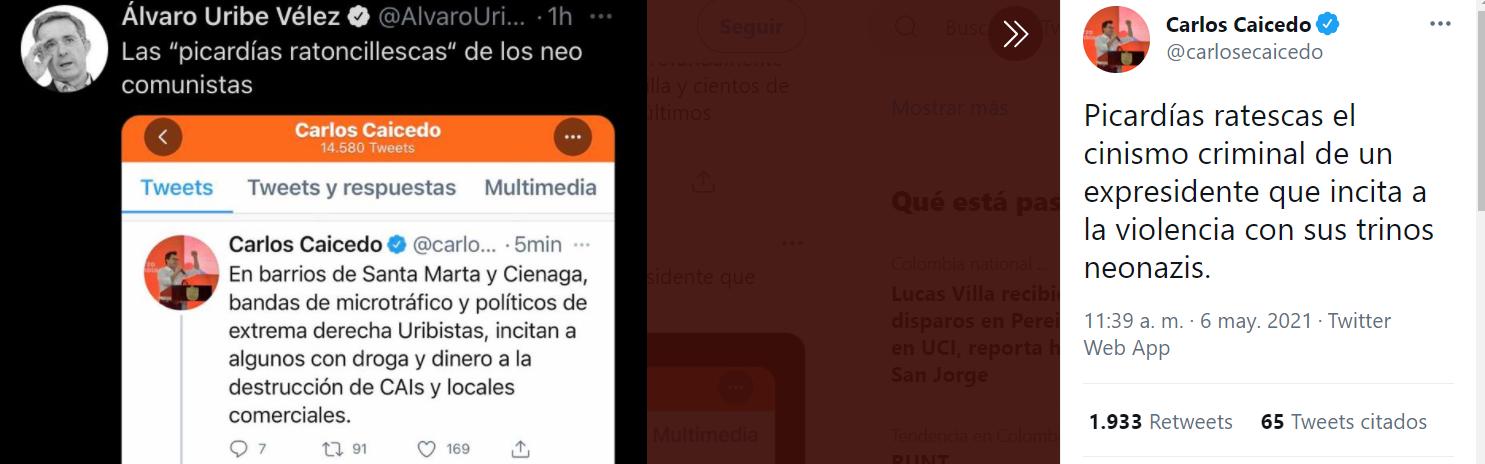 Cruce de insultos Carlos Caicedo y Álvaro Uribe. Foto: Twitter.