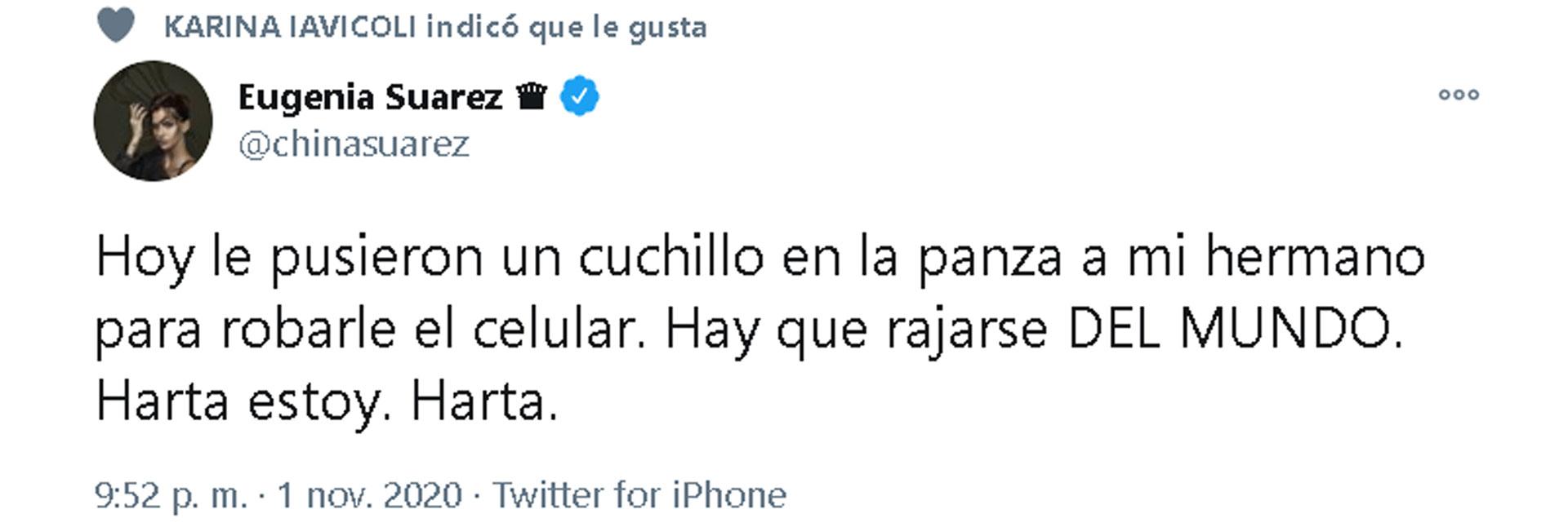 El tuit que escribió la China Suárez y luego borró