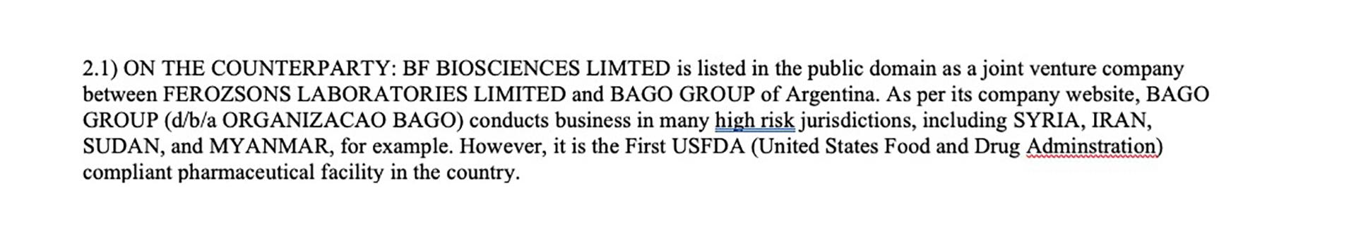 El SAR de la FinCEN donde aparece menciona el laboratorio argentino Bagó por su operatoria en Pakistán.