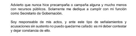 Parte del comunicado de Osorio Chong (Twitter)
