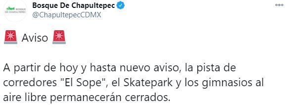 Las autoridades de dicho sitio señalaron que el cierre de las zonas antes mencionadas comienza a partir de este 20 de diciembre y hasta nuevo aviso Fotografía: Twitter / @ChapultepecCDMX