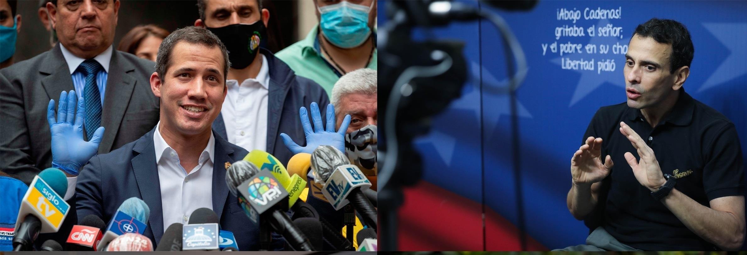 Combo de fotografías de archivo que muestran a los líderes opositores venezolanos Juan Guaidó (i), Henrique Capriles (d). EFE / Archivo
