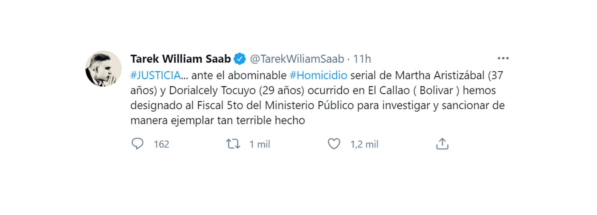 El tuit del fiscal Tarek Saab