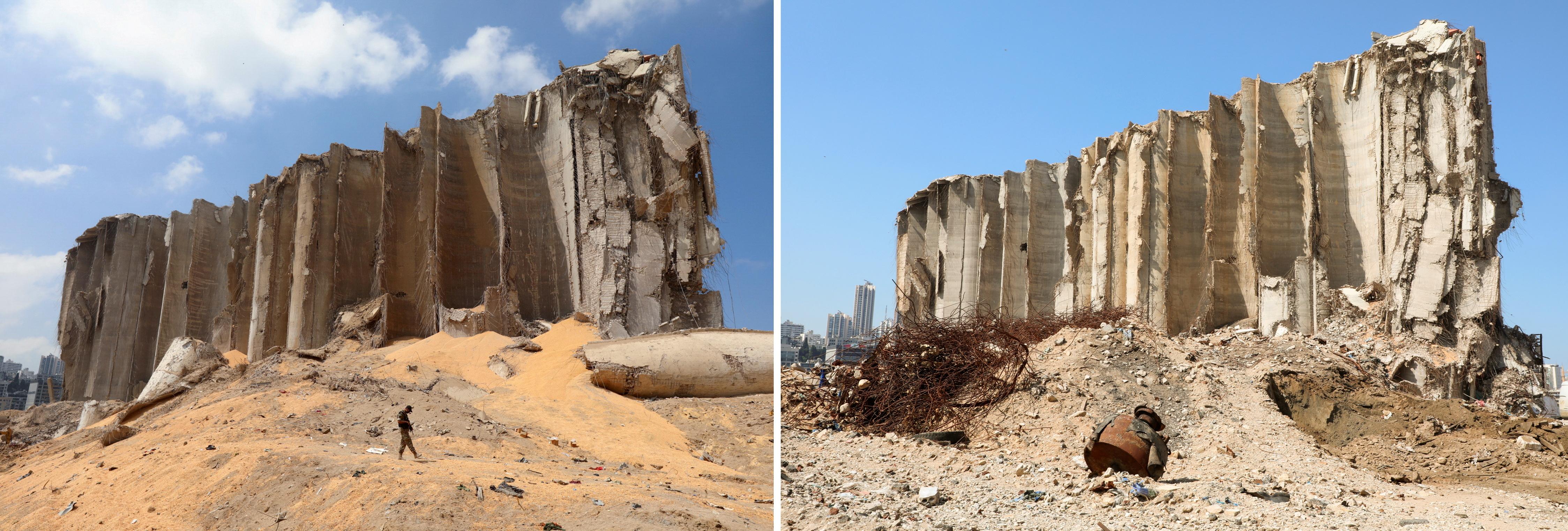 Una imagen combinada muestra el silo de granos que resultó dañado durante la explosión del 4 de agosto en el puerto de Beirut, filmado el 7 de agosto de 2020 y la misma área después de casi un año desde la explosión, Líbano el 13 de julio de 2021. REUTERS / Mohamed Azakir