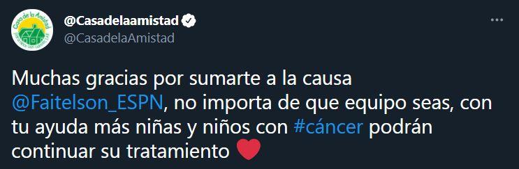 Mensaje de agradecimiento por la transferencia de Faitelson (Foto: Twitter@CasadelaAmistad)