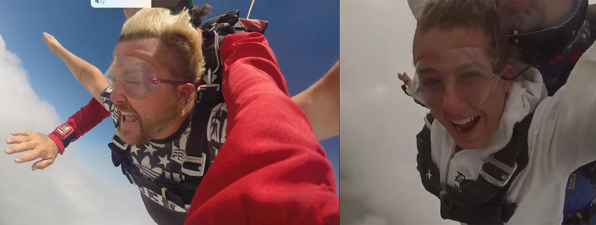 Pablo y su hija Micaela tirándose en Paracaídas en Lobos