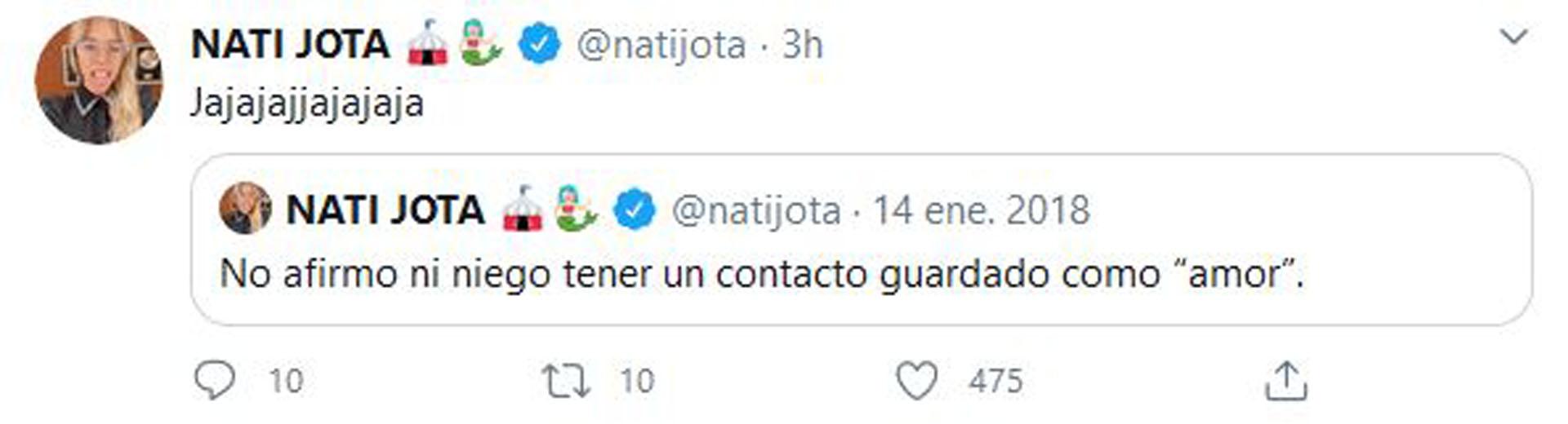 El tuit de Nati publicado cuando comenzaba su relación con Siri (Foto: Twitter)