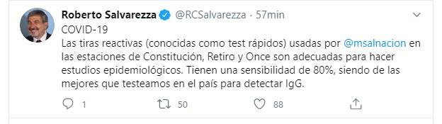El tweet del ministro Salvarezza sobre los tests rápidos (Twitter: @RCSalvarezza)