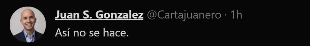 El Tweet de Juan González, ante la intención de la AL de EL Salvador de destituir a los magistrados de la Corte Suprema de Justicia