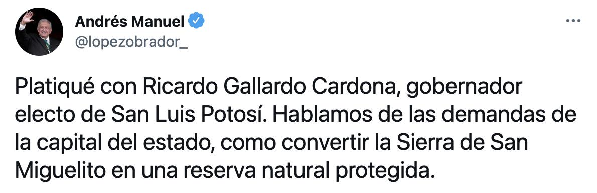 El mandatario detalló que en el encuentro se trataron temas como las demandas de la capital del estado y la iniciativa de convertir la Sierra de San Miguelito en una reserva natural protegida (Foto: Twitter@lopezobrador_)