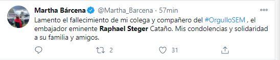 Martha Bárcena también se unió a la pena (Foto: Twitter)