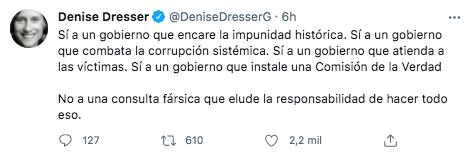 """La politóloga rechazó que el gobierno """"eluda"""" responsabilidades mediante la Consulta Popular sobre expresidentes (Foto: Twitter/@DeniseDresserG)"""