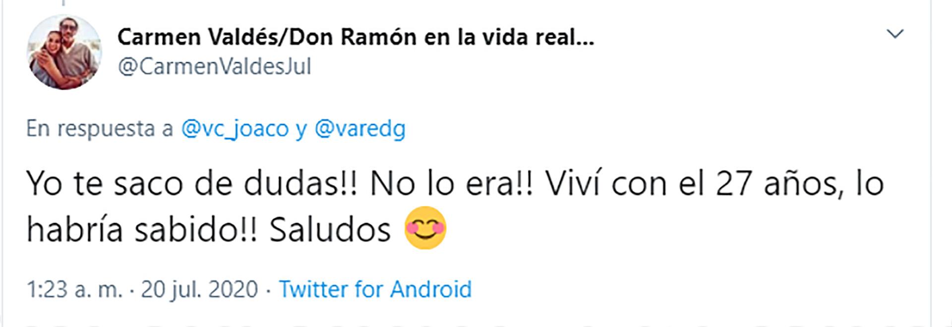 Carmen Valdés y su respuesta contundente (Foto: Twitter)